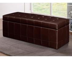 Banco cofre de piel sintética con espacio de almacenamiento WAGNER II- Chocolate