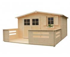Caseta de jardín de madera NATSU Superficie 13.1m² + terraza 8.5m² - grosor 28mm
