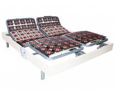 Somier eléctrico 2x65 terminales con estructura de madera color blanco de DREAMEA - 2x80x200cm - motores OKIN