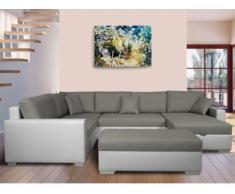 Sofá cama rinconero XXL de tela y piel sintética NIRINA - Bicolor gris y blanco - Ángulo izquierdo