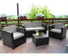 Conjunto de jardín SOPHIE II de resina moldeada: 2 sillones, un sofá de 2 plazas, una mesa de centro - Gris antracita