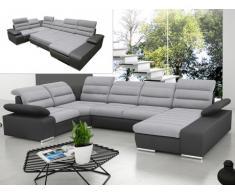 Sofá cama rinconero XXL de tela y piel sintética BOILEAU - Bicolor gris claro y gris antracita - Ángulo derecho