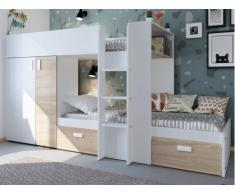 Cama litera JULIEN - 2x90x190 cm - Armario integrado - Blanco y Roble