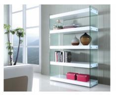 Estantería BROOKE - MDF lacado y cristal templado - 4 estantes - Blanco