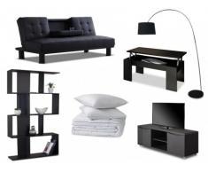 PACK Estudio 8 productos: sofá cama clic-clac DANIEL piel sintética negra, mesa de centro, mueble TV, estantería, lámpara, edredón y 2 almohadas
