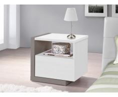 Mesa de noche NAPOLI - 1 cajón - Blanco y gris