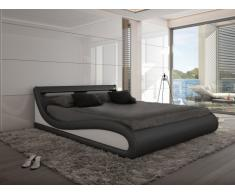Cama con LEDs ZALARIS - 160x200 cm - Piel sintética negra