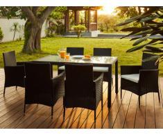Comedor de jardín PALAWAN de resina trenzada antracita: una mesa + 6 sillones - Asiento blanco