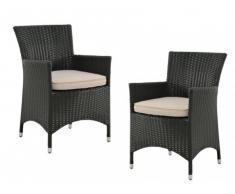 Conjunto de 2 sillones de jardín ALANDA de resina trenzada - Gris antracita