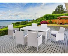 Comedor de jardín PALAWAN de resina trenzada blanco: una mesa + 6 sillones - Asiento gris