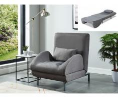 Sillón cama tapizado de tela COMPLICE - Color gris