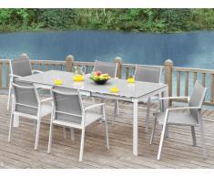 Comedor de jardín PALAOS - Mesa extensible, 6 sillas - Gris