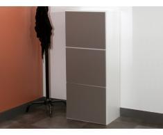 Mueble zapatero YOANN - 3 puertas - Color blanco y marrón topo