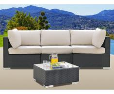 Conjunto de jardín ALANDA de resina trenzada: un sofá 3 plazas y una mesa de centro - Gris antracita