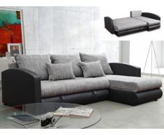 Sofá cama rinconero de orientación reversible tapizado de piel sintética y tela PIANA - Gris jaspeado y negro