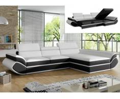 Sofá cama rinconero de piel sintética ORLEANS - Blanco con tiras negras - Ángulo derecho