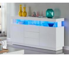 Aparador FABIO - MDF lacado blanco - LEDs - 3 cajones & 2 puertas