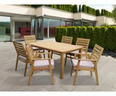 Comedor de jardín AZZAO en madera de eucalipto: una mesa + 6 sillones - Asiento gris arenoso