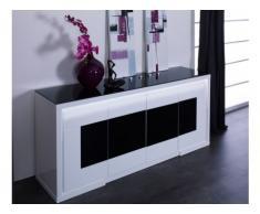 Aparador KIBO - MDF lacado blanco & negro templado - 4 puertas - LEDs