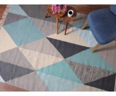 Alfombra ALEXEI - 100% Lana - 160x230 cm - Azul, gris, blanco