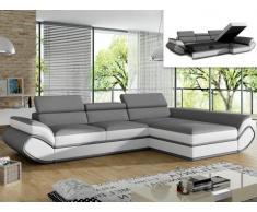 Sofá cama rinconero tapizado de piel sintética ORLEANS - gris y blanco - ángulo derecho