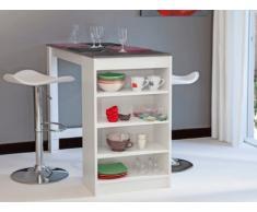 Mueble de bar JANIS - Tapa símil hormigón - Color Blanco