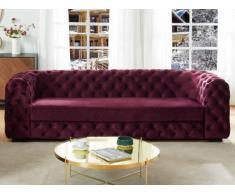 Sofá de 3 plazas chesterfield STANLEY - Terciopelo púrpura