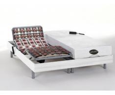 Cama eléctrica con memoria de forma y bambú LYSIS III de NATUREA - Motores OKIN - Blanco - 2x90x200 cm