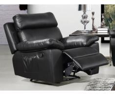 Sillón relax de piel sintética WIGAN - Negro