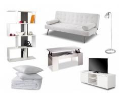 PACK Estudio 8 productos: sofá cama clic-clac MICHELLE piel sintética blanca, mesa de centro, mueble TV, estantería, lámpara, edredón y 2 almohadas