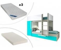 Cama litera con cajón cama nido ANTONIO - 3x90x190 cm - Armario integrado - Pino turquesa y blanco + colchón nido + 2 colchones ZEUS 90x190