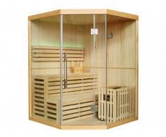 Sauna Tradicional Finlandesa rinconera 3/4 plazas acristalada PITEA - Largo 150 x Ancho 150 x Alto 200cm - Equipada con leds