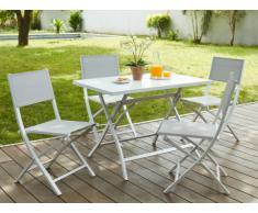 Comedor de jardín PIRAE de aluminio: una mesa plegable + 4 sillas plegables - Asiento gris