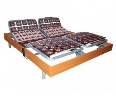 Somier eléctrico 2x65 terminales con estructura de madera color cerezo de DREAMEA - 2x80x200cm - motores OKIN