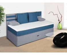 Pack boxspring de cabecero + somier abatible + colchón + cubre colchón PERFECT de DREAMEA - tela gris y azul - 90x200cm