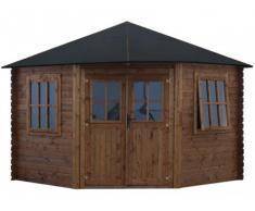 Caseta de jardín KOYOMA de madera con tratamiento clase III marrón - superficie 9m2 - 28mm de espesor - techo de fieltro asfáltico
