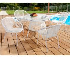 Conjunto de jardín KELIOS de resina trenzada - Blanco: mesa + 4 sillones