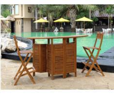 Mueble bar de jardín y 2 taburetes de bar AKUDA - Teca