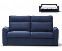 Sofá cama italiano de 3 plazas OLTEN tapizado de tela - Azul noche