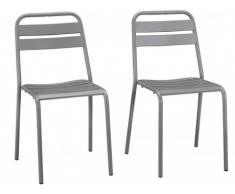 Lote de 2 sillas de jardín LUXEMBOURG de metal - Gris arenoso