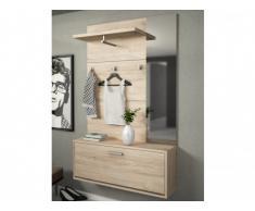 Mueble de entrada CALEB - 1 puerta y 1 estantería - Color: roble