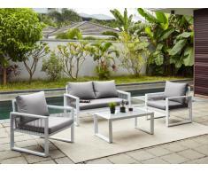Salón de jardín KIRIBATI de aluminio y cuerdas: un sofá 2 plazas, 2 sillones y una mesa de centro
