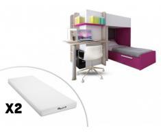 Cama litera SAMUEL - 2x90x190 cm - Escritorio integrado - Pino blanco/rosa + 2 colchones STELO KIDS
