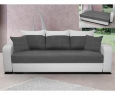 Sofá cama 3 plazas de tela y piel sintética BARDEN - Bicolor blanco y gris