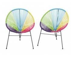 Conjunto de 2 sillas de jardín ALIOS II de fibras de resina trenzada - Multicolor