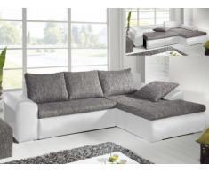Sofá cama rinconero MISSISSIPPI - Ángulo reversible - Gris y blanco
