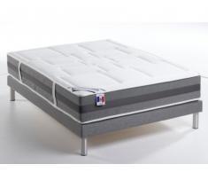 PACK Colchón de muelles + base tapizada EMPEREUR - Gris jaspeado - 160x200 cm