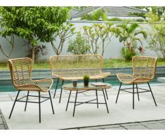 Conjunto de jardín NICOYA de resina trenzada: un sofá 2 plazas, 2 sillones y una mesa de centro