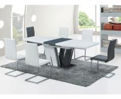 Mesa de comedor extensible NAOMI - 6 a 8 comensales - MDF lacado gris/blanco