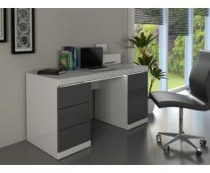 Escritorio LOIC - MDF lacado blanco & gris - 1 puerta & 3 cajones - LEDs